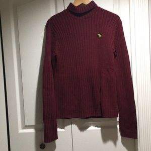 A&F Men's maroon Cotton Blend TurtleNeck Sweater L
